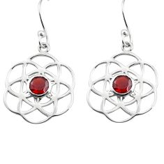 1.87cts natural red garnet 925 sterling silver dangle earrings jewelry p84128