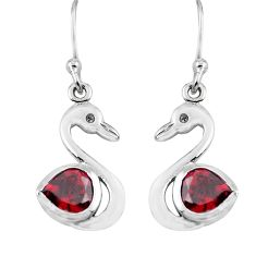 2.92cts natural red garnet 925 sterling silver duck charm earrings p62571