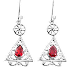 3.42cts natural red garnet 925 sterling silver earrings jewelry p58526