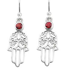0.76cts natural red garnet 925 sterling silver hand of god hamsa earrings p36823