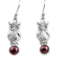 2.09cts natural red garnet 925 sterling silver owl earrings jewelry p84939