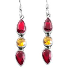 Clearance Sale- 7.56cts natural red garnet citrine 925 sterling silver dangle earrings d31627