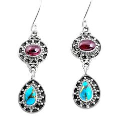6.76cts natural red garnet copper turquoise 925 silver dangle earrings p51521