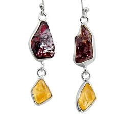 19.50cts natural red garnet rough citrine rough silver dangle earrings d32391