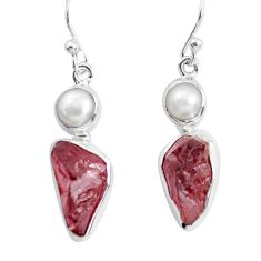 12.96cts natural red garnet rough pearl 925 silver dangle earrings p51869