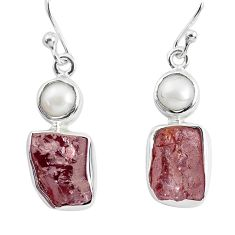 13.84cts natural red garnet rough pearl 925 silver dangle earrings p51870