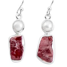 14.72cts natural red garnet rough pearl 925 silver dangle earrings p51872