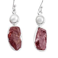 16.92cts natural red garnet rough pearl 925 silver dangle earrings p51873