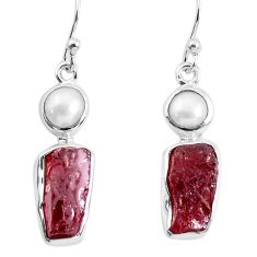 12.06cts natural red garnet rough white pearl 925 silver dangle earrings p51761