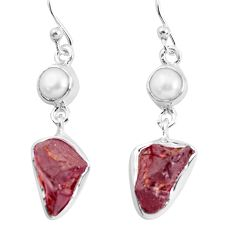 13.77cts natural red garnet rough white pearl 925 silver dangle earrings p51762