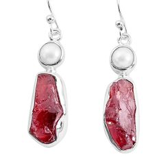 14.48cts natural red garnet rough white pearl 925 silver dangle earrings p51763