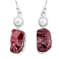 15.16cts natural red garnet rough white pearl 925 silver dangle earrings p51765