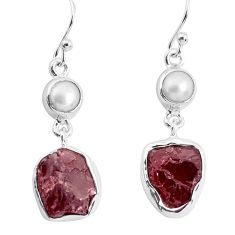14.23cts natural red garnet rough white pearl 925 silver dangle earrings p51766