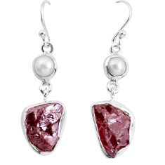 16.46cts natural red garnet rough white pearl 925 silver dangle earrings p51767