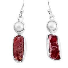 12.96cts natural red garnet rough white pearl 925 silver dangle earrings p51768