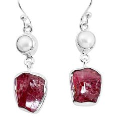 13.27cts natural red garnet rough white pearl 925 silver dangle earrings p51770