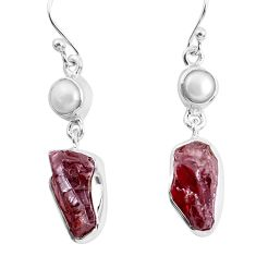 15.60cts natural red garnet rough white pearl 925 silver dangle earrings p51771