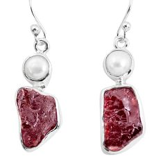 14.26cts natural red garnet rough white pearl 925 silver dangle earrings p51772