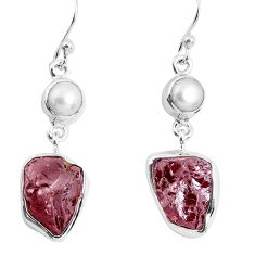 15.16cts natural red garnet rough white pearl 925 silver dangle earrings p51773