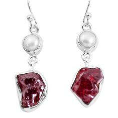 15.16cts natural red garnet rough white pearl 925 silver dangle earrings p51775