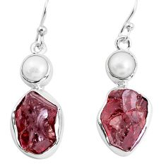 15.44cts natural red garnet rough white pearl 925 silver dangle earrings p51776