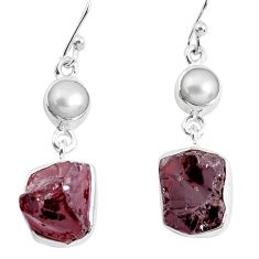 15.16cts natural red garnet rough white pearl 925 silver dangle earrings p51777