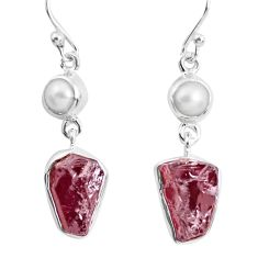 15.60cts natural red garnet rough white pearl 925 silver dangle earrings p51779