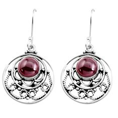 6.54cts natural red garnet round 925 sterling silver earrings jewelry p41321