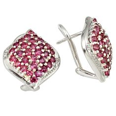 Natural red rhodolite white topaz 925 sterling silver stud earrings j11794