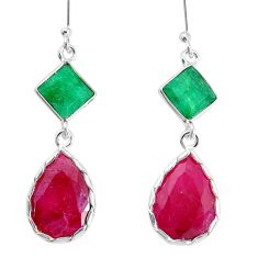 16.13cts natural red ruby emerald 925 sterling silver dangle earrings p34805