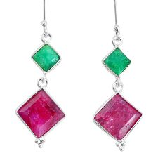 12.99cts natural red ruby emerald 925 sterling silver dangle earrings p34843