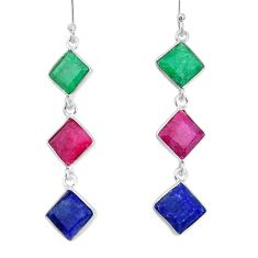14.91cts natural red ruby emerald sapphire 925 silver dangle earrings p34826