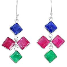 17.96cts natural red ruby sapphire emerald 925 silver dangle earrings p34762