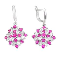 11.57cts natural red ruby topaz 925 sterling silver dangle earrings c3938