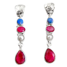 Clearance Sale- 16.46cts natural red ruby white pearl 925 silver dangle earrings jewelry d32324