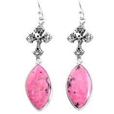 19.29cts natural rhodonite in black manganese 925 silver cross earrings p91838