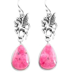 17.22cts natural rhodonite in black manganese 925 silver unicorn earrings p72525