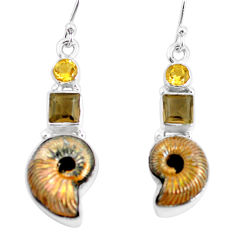 14.88cts natural russian jurassic opal ammonite 925 silver earrings p64681