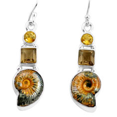 15.31cts natural russian jurassic opal ammonite 925 silver earrings p64683