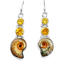 13.28cts natural russian jurassic opal ammonite 925 silver earrings p64685