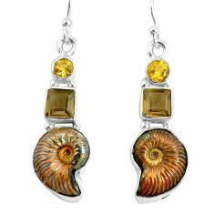 14.41cts natural russian jurassic opal ammonite 925 silver earrings p64686