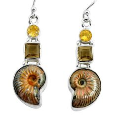 15.76cts natural russian jurassic opal ammonite 925 silver earrings p64687
