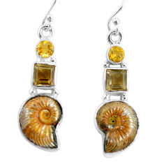 14.41cts natural russian jurassic opal ammonite 925 silver earrings p64690