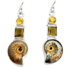 15.76cts natural russian jurassic opal ammonite 925 silver earrings p64691