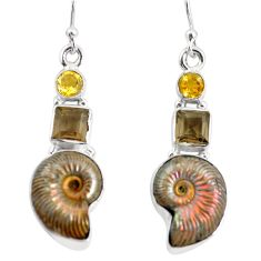 16.17cts natural russian jurassic opal ammonite 925 silver earrings p64695