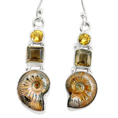 15.31cts natural russian jurassic opal ammonite 925 silver earrings p64697