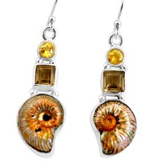 16.13cts natural russian jurassic opal ammonite 925 silver earrings p64699