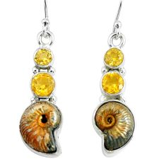 12.31cts natural russian jurassic opal ammonite 925 silver earrings p67781