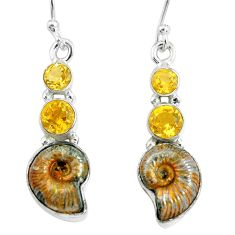11.66cts natural russian jurassic opal ammonite 925 silver earrings p67783