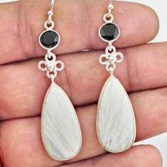 16.68cts natural scolecite high vibration crystal 925 silver earrings p78679
